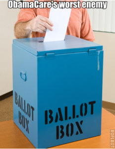 Closeup of a man's hand placing his ballot in the box.