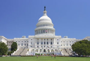 West side view of the United States Capitol building.