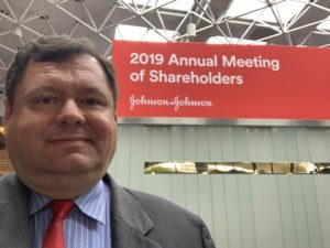 David Almasi at Johnson & Johnson's 2019 annual shareholder meeting
