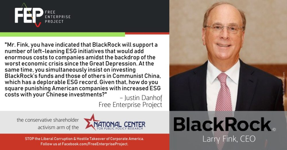 Question to BlackRock CEO Larry Fink